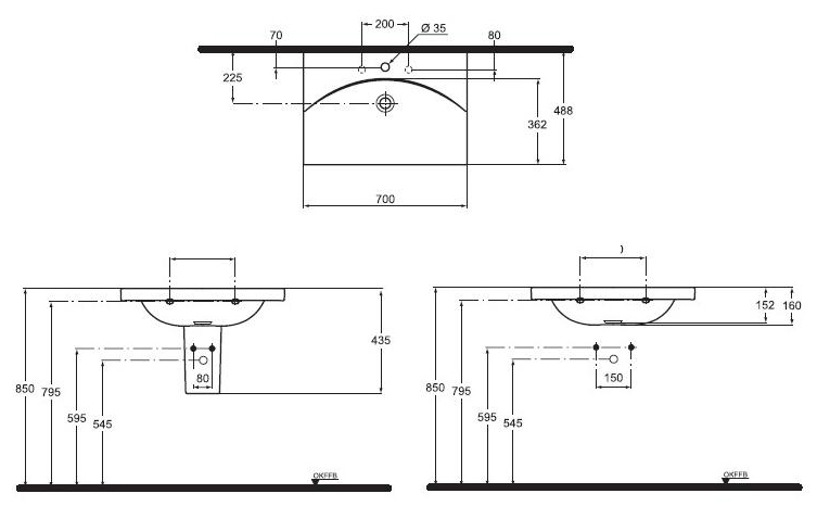 lavoar ideal standard seria daylight de 70 cm. Black Bedroom Furniture Sets. Home Design Ideas